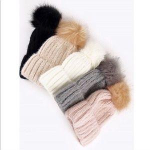TOASTY Faux Fur Pom-Pom Knit Beanies